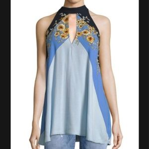 NEW Free People Blue Floral Halter Top XS